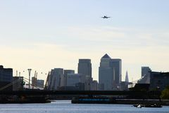 Airplane. In the sky in london Royalty Free Stock Images
