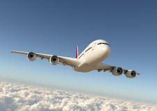 Airplane in the sky. Airplane obove the clouds Royalty Free Stock Photos