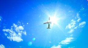 Airplane in the sky over the airport Tivat. stock photo