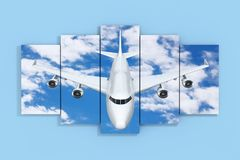 Airplane in the Sky Poster on a Blue. 3d Rendering. Airplane in the Sky Poster on a Blue Wall background. 3d Rendering Royalty Free Stock Photos