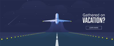 Airplane in the sky, runway and take-off plane. Starry night sky. Airplane in the sky, runway and take-off plane. Banner or flyer for travel and vacation design Royalty Free Stock Photography