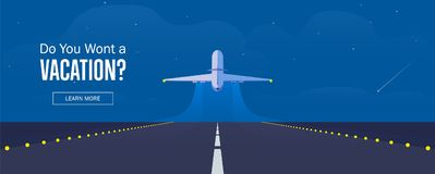 Airplane in the sky, runway and take-off plane. Starry night sky. Airplane in the sky, runway and take-off plane. Banner or flyer for travel and vacation design Royalty Free Stock Photo