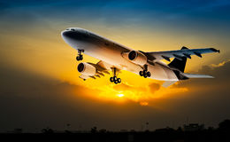 Airplane on the sky royalty free stock images
