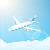 Airplane in the sky. White airplane on blue sky background, illustration royalty free illustration