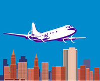 Airplane with skyline. Vector illustration of a propeller airplane taking off with buildings in the background vector illustration