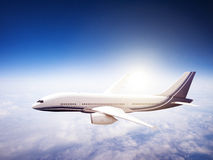 Airplane Skyline Horizon Flight Cloud Concept Royalty Free Stock Images