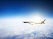 Airplane Skyline Horizon Flight Cloud Concept Royalty Free Stock Photography