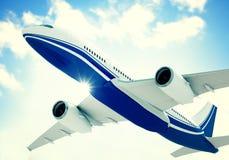 Airplane Skyline Horizon Flight Cloud Concept Royalty Free Stock Image