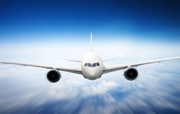 Airplane Skyline Horizon Flight Cloud Concept Stock Photos