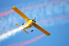 Airplane with smoke Stock Photo