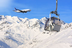 Airplane and snow Royalty Free Stock Photo