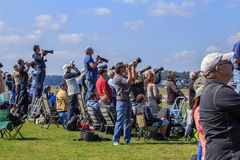 Airplane spotters at air show Royalty Free Stock Photo