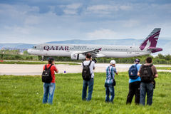 Airplane spotters spotting Russian Airlines Airbus at Zagreb airport Royalty Free Stock Photography