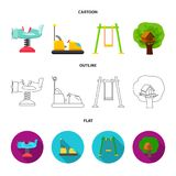 Airplane on a spring, swings and other equipment. Playground set collection icons in cartoon,outline,flat style vector. Symbol stock illustration Royalty Free Stock Image