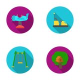 Airplane on a spring, swings and other equipment. Playground set collection icons in flat style vector symbol stock Stock Image