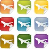 Airplane square sticker Stock Photo