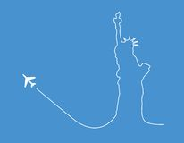 Airplane statue silhouette. Airplane leaving a silhouette of the Statue of Liberty Royalty Free Stock Images