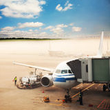 Airplane stop at airport Stock Image