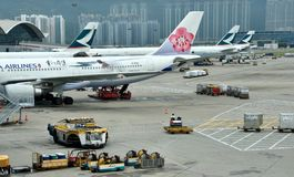 Airplane Stopping In Hongkong Airport Stock Photography