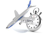 Airplane with stopwatch. On white background stock illustration