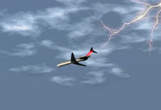 Airplane in Storm. Airplane getting ready to land in the midst of a lightening storm. Shot with a Canon 20D royalty free stock photo