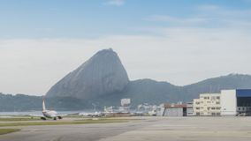 Airplane and sugarloaf mountain in Rio de Janeiro. Brazil Stock Photography