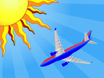 Airplane and Sun. Red and blue airbus A320 A330 A332 flying under blue sky and bright yellow, red and orange stylized sun to suggest leaving on vacation Royalty Free Stock Photos