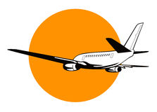 Airplane with sun Stock Photography
