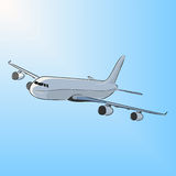 Airplane in the sun, vector illustration. Airplane in the sun. Hand-drawn sketch. Art vector illustration for your design Royalty Free Stock Photo