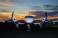 Airplane sunrise Stock Photography