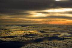 Airplane Sunset Cloudscapes Stock Photography