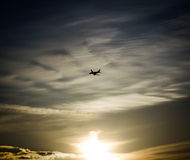 Airplane Sunset Stock Image