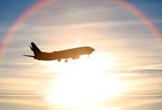 Airplane sunset Royalty Free Stock Photo