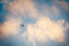 Airplane in a sunset sky Stock Image