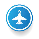 Airplane symbol,Blue button Royalty Free Stock Photography
