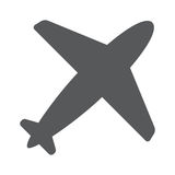Airplane symbol. Travel icon. Flat design. EPS 10. Airplane flight tickets air fly travel takeoff silhouette element. Plane symbol. Travel icon. Flat design Royalty Free Stock Images