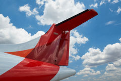 Airplane tail on bly sky background Royalty Free Stock Photography