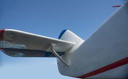 Airplane tail close-up view. With blue sky Royalty Free Stock Image