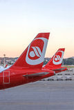 Airplane tail fin of plane from airline Air Berlin - Airport Zurich Royalty Free Stock Photography