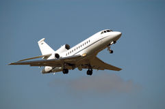 Airplane for take off. Front view, landing gear and lights are visible Royalty Free Stock Photo