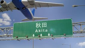 Airplane Take off Akita. Airplane flying over airport signboard stock video footage