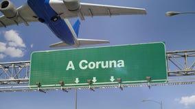 Airplane Take off A Coruna stock illustration