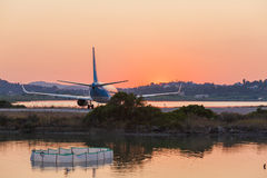 Airplane before take-off, evening scene, Corfu Stock Images