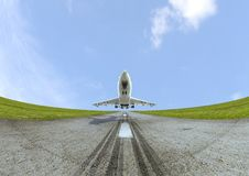 Airplane take off graphic. A digital realistic render of a jet during take-off on a runway Royalty Free Stock Images