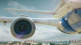 Airplane take off Istanbul Turkey third version stock video footage