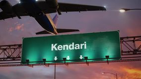 Airplane Take off Kendari during a wonderful sunrise. Airplane flying over airport signboard stock video footage