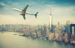 Airplane after take off with New York skyline. Travel concept Royalty Free Stock Photography