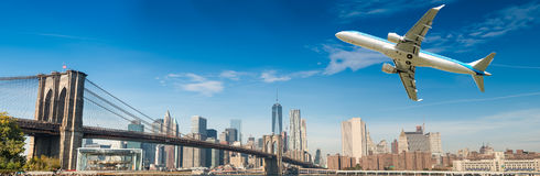 Airplane after take off with New York skyline. Travel concept.  stock photography
