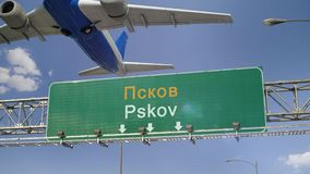 Airplane Take off Pskov. Airplane flying over airport signboard stock video footage