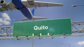 Airplane Take off Quito. Airplane flying over airport signboard stock footage